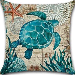 Other - Pillow Cover- New- Beach Nautical Ocean Sea Turtle